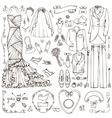 Wedding fashionDoodle bridegroom dresslinear vector image vector image