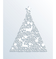 White Merry Christmas contemporary tree greeting vector image
