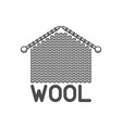 wool emblem with knitted fabric and needles label vector image