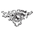 wreath with cherubs have a horse center in its vector image vector image
