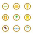 summer vacation icons set cartoon style vector image