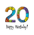 20th anniversary celebration greeting card vector image vector image