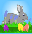 a hare on the grass easter eggs vector image vector image