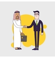Arab person shaking hands with a businessman vector image