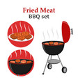 barbecue set - grill station fried fresh meat vector image vector image