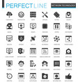 black classic network technology icons set for web vector image