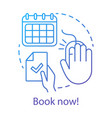 Book now concept icon holiday resort interest