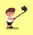 boy makes selfie vector image vector image