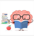 brain with glasses and book vector image