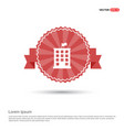 building icon - red ribbon banner vector image