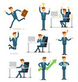 businessman character isolated set vector image