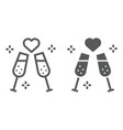 champagne glasses line and glyph icon celebrating vector image vector image