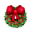 christmas wreath with other decorative elements vector image vector image