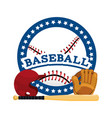 circle sticker with baseball sport equipment vector image vector image