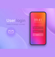 clean mobile ui design concept login application vector image vector image