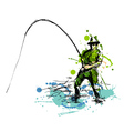 Colored hand drawing fisherman vector image vector image