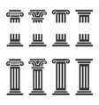 columns icon set ancient architecture pillars vector image vector image