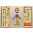 Construction worker character pack vector image
