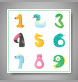 cute animal numbers from 1 to 9 baby invitation vector image vector image