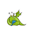 cute little dragon sleeping vector image vector image