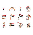 egypt flag and hand on white background vector image