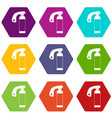 fire extinguisher icon set color hexahedron vector image vector image