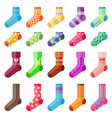 flat design colorful socks set vector image vector image