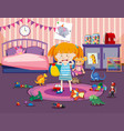 girl crying in room vector image
