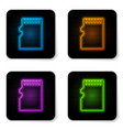 glowing neon micro sd memory card icon isolated vector image vector image