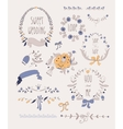 Hand drawn set of wedding wreaths and ribbons vector image vector image