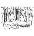 hand drawn wardrobe sketch furniture dress vector image vector image