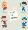 happy cute cartoon school children vector image vector image