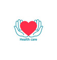 heart in palms logo logo for health handmade vector image