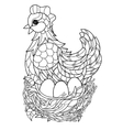Hen Hand drawn decorative farm animal vector image vector image