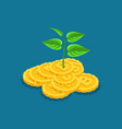 isometric concept of profit growth based on ico bl vector image