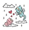 kitten cupid valentine day cartoon vector image