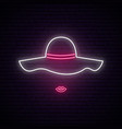 lady with hat neon sign night bright signboard vector image vector image