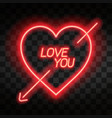 love you bright neon heart heart sign with cupid vector image