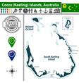 map of cocos islands australia vector image vector image