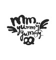 mm yummy yummy calligraphy lettering vector image vector image
