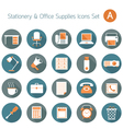 Office Supplies and Stationery Flat Icons Set vector image vector image