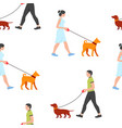 pattern with man and woman walking dogs vector image
