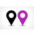 Purple map pins sign icon in flat style vector image