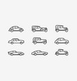retro car icon set transport transportation vector image vector image