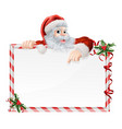 santa claus cartoon sign vector image vector image