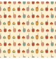 Seamless pattern with cupcake coffee or tea icons vector image vector image