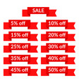 set of red sale ribbons with different discount vector image vector image