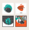set of square cards dedicated to sea vector image vector image