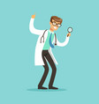 smiling male doctor character standing and looking vector image vector image