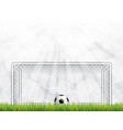 soccer ball on grass in front of goal post vector image